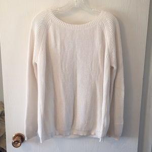 White V-back sweater